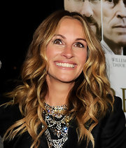 Julia Roberts wore her hair in her signature sexy style at a premiere of 'Fireflies in the Garden'. Her long tresses were wavy with rich golden and caramel highlights.