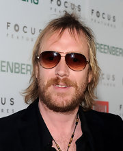 Rhys Ifans made sure he looked cool with a pair of brown aviators.