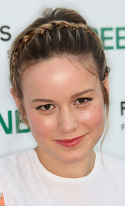 Actress Brie Larson was dolled up in a pretty flowered dress, which she completed with a braided up-do.