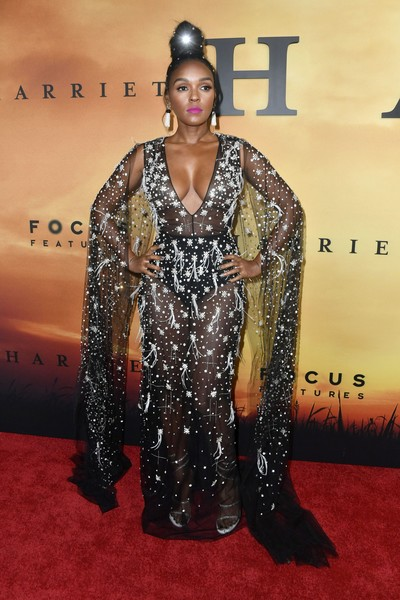 Janelle Monae worked a sheer, embellished black gown by Honayda at the premiere of 'Harriet.'