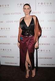 Angela donned an incredibly unique style at the premiere of 'Somewhere.' Her multi colored satin ensemble was adorned at the waist with sequins.