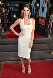 Ashley Greene completed her red carpet ensemble with barely-there gold slim-strap sandals.
