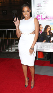 La La Anthony was a head turner at the 'Baggage Claim' premiere in a curve-hugging white cutout dress.