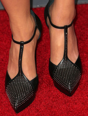 Lyn Talbert donned a super-stylish pair of studded black T-strap pumps for the premiere of 'Baggage Claim.'
