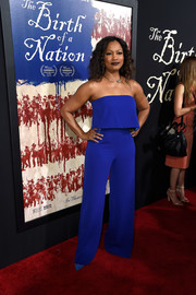 Garcelle Beauvais donned a strapless, layered jumpsuit in a gorgeous cobalt hue for the premiere of 'The Birth of a Nation.'