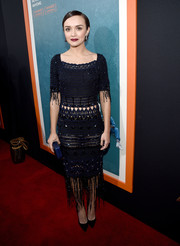 Olivia Cooke channeled her inner flapper girl in a fringed and beaded navy crochet dress by Miu Miu at the premiere of 'Me and Earl and the Dying Girl.'