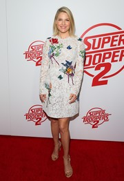Ali Larter looked very dainty in a floral-embroidered lace dress by Monique Lhuillier at the premiere of 'Super Troopers 2.'