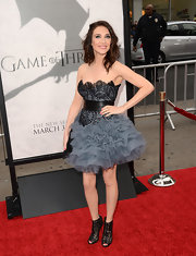 Carice Van Houten opted for some frills with this strapless dress with lace bodice and ruffled tulle skirt.