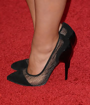 Jenna Louise Coleman sported a pair of black pumps with a cool mesh design for her red carpet look.