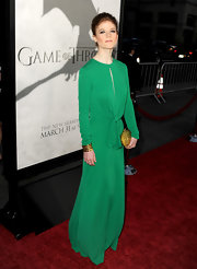 Rose Leslie made a bold statement in this long-sleeved green dress with sexy keyhole cutout.