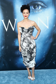 Nathalie Emmanuel hit the 'Game of Thrones' season 7 premiere wearing a strapless face-print dress by Vivienne Westwood.