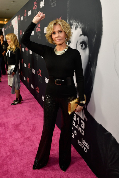 Jane Fonda kept it simple in a black crewneck sweater at the premiere of 'Jane Fonda in Five Acts.'