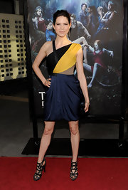 Mariana Klaveno showed off her color-blocked dress while hitting the premiere of 'True Blood'.