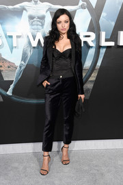 Francesca Eastwood showed us how to look oh-so-sexy in a suit with this black velvet ensemble at the premiere of 'Westworld.'