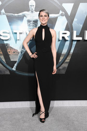 Evan Rachel Wood chose a pair of strappy black peep-toes by Christian Louboutin to finish off her look.