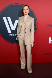 Evan Rachel Wood opted for yet another suit, this time a beige three-piece by Altuzarra, when she attended the premiere of 'Westworld' season 2.