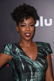 Samira Wiley styled her hair into a funky curly updo for the premiere of 'The Handmaid's Tale.'