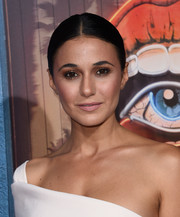 Emmanuelle Chriqui sported a classic center-parted bun at the premiere of 'Shut Eye.'