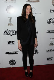Liv Tyler attended the premiere of 'Super' in black peep toe booties.