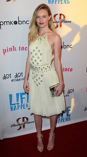 Kate Bosworth stepped onto the red carpet at the 'Life Happens' premiere wearing a pair of shiny metallic silver sandals.