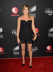 Jennifer Aniston looked chic in black from head to toe, especially with these black dress shorts.
