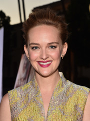 Jess Weixler kept it relaxed with this messy updo at the premiere of 'Sister Cities.'