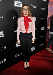 Sasha Alexander caught the premiere of 'The Choice' wearing a pink and red ruffle blouse and black pants.