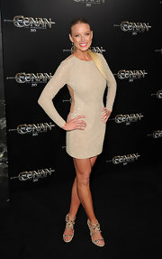 Rachel Nichols looked glam in an ivory and gold backless dress for the 'Conan the Barbarian' premiere.