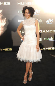 Latarsha Rose wore this feather-fringed cocktail dress to the LA premiere of 'The Hunger Games.'