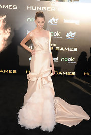 Kalia Prescott wore this dramatically beautiful champagne gown to the LA premiere of 'The Hunger Games.'