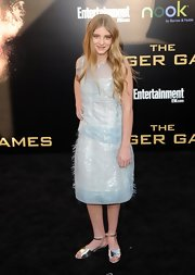 Willow Shields wore this iridescent baby blue shift dress to the LA premiere of 'The Hunger Games.'