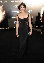 Tara Macken wore this black silk gown with lace cutouts to the LA premiere of 'The Hunger Games.'