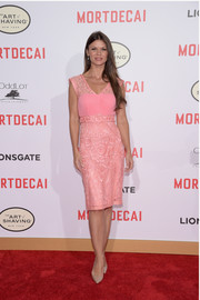 Danielle Vasinova went for some Barbie-inspired glamour with this lacy pink cocktail dress at the premiere of 'Mortdecai.'