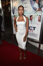 Karrueche Tran flaunted her figure in this little white halter dress while attending the 'Perfect Match' premiere.
