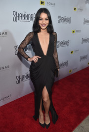 Vanessa Hudgens looked va-va-voom at the 'Shannara Chronicles' premiere in a black House of CB gown boasting a navel-grazing plunge, drapey hips, and a thigh-high front slit.