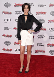 Jaimie Alexander went for a sexy finish with a metal-accented white wraparound mini, also by Mugler.