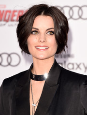 Jaimie Alexander attended the premiere of 'Avengers: Age of Ultron' wearing a glammed-up bowl cut.