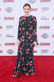 Elizabeth Hendstridge kept it conservative in a long-sleeve floral dress during the premiere of 'Avengers: Age of Ultron.'