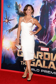 Karina Smirnoff went for a bondage feel in a white corset dress with triangle shoulder straps during the 'Guardians of the Galaxy' premiere.