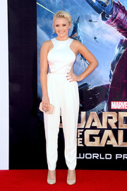 Emily Osment looked appropriately futuristic in a white cutout jumpsuit by Peggy Hartanto during the 'Guardians of the Galaxy' premiere.