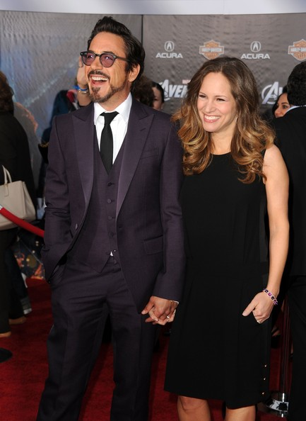 Susan Downey wore a basic yet elegant little black shift dress to the premiere of 'The Avengers.'