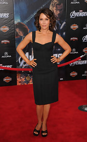 Jennifer Grey brought some sultriness to the 'Avengers' red carpet with this black corset dress.