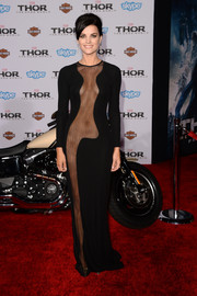 Jaimie Alexander was a show stopper in a seductive black sheer-panel evening dress by Azzaro during the premiere of 'Thor: The Dark World.'