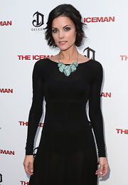 Jaimie Alexander's huge turquoise necklace was the perfect complement to her simple black dress at the 'Iceman' premiere.