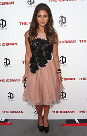 Weronika Rosati oozed femininity in an appliqued cocktail dress at the premiere of 'The Iceman.'