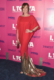 Allison Janney looked ultra glam in a red Rani Zakhem Couture gown with a gold sequined hem at the premiere of 'I, Tonya.'