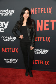 Aimee Garcia sported an all-black leather jacket, jeans, and boots combo at the premiere of 'One Day at a Time' season 2.