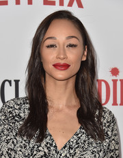 Cara Santana wore a simple side-parted style with barely-there waves at the premiere of 'Santa Clarita Diet.'