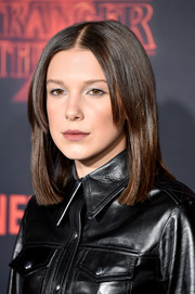 Millie Bobby Brown sported a sleek lob with parted bangs at the premiere of 'Stranger Things' season 2.