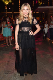 Chloe Grace Moretz was girly-gothic in a black Dolce & Gabbana tulle and lace gown at the premiere of 'If I Stay.'